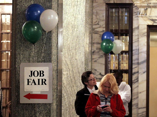 Job seekers wait in line to enter the San Francisco Hirevent job fair at the Hotel Whitcomb on March 27, 2012 in San Francisco, California. As the national unemployment rate stands at 8.2 percent, job seekers turned out to meet with recruiters at the San Francisco Hirevent job fair where hundreds of jobs were available.