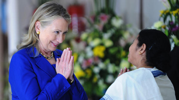 U.S. Secretary of State Hillary Rodham Clinton and West Bengal Chief Minister Mamata Banerjee greet each other before a meeting in Kolkata, India, on May 7.
