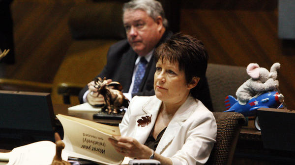 "Arizona state Sen. Nancy Barto, R-Phoenix, listens during a special budget briefing at the state Capitol in October 2008. Barto sponsored a new law that prohibits wrongful birth lawsuits. She says the bill ""sends the message that all life is worth protecting."""