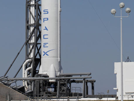 The Falcon 9 SpaceX rocket stands ready for launch at the Cape Canaveral Air Force Station in Florida.