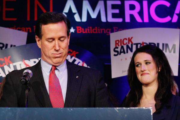 Rick Santorum speaks at an election night rally in Grand Rapids, Mich., after he placed second in both Michigan and Arizona.