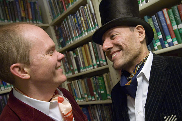 Tripp Evans (left) and Ed Cabral (right) dressed to impress in vintage clothes from the 1920s at the library's fundraising gala.