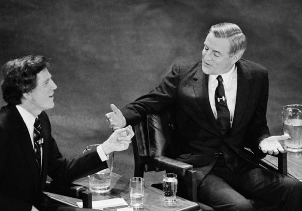 Former Vice President Walter Mondale was openly contemptuous of Democratic challenger Sen. Gary Hart in 1984 when he recounted Hart's legislative record and echoed the Wendy's commercial 'Where's the beef?' Hart, left, and Mondale use their hands to gesture as they talk during a primary debate.