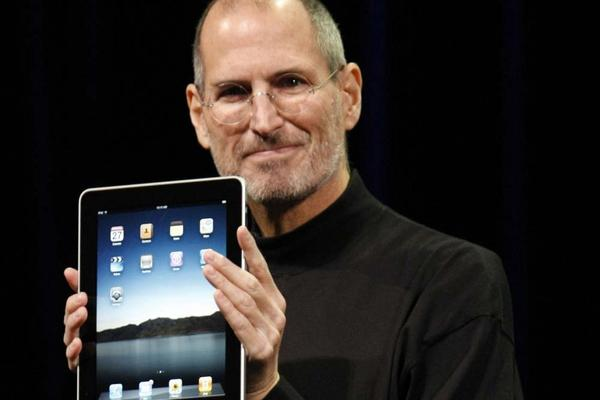 Jobs reveals the new iPad in San Francisco in 2010.