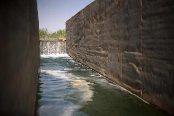 Water pumped from Lake Nasser cascades down an irrigation canal to crops on South Valley Company land.