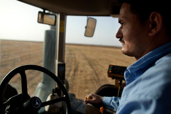 Khaled Mohamed tills the soil after a wheat harvest at KADCO.