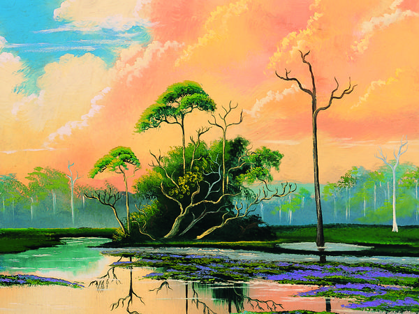 A painting by Mary Ann Carroll, one of 26 painters known as The Highwaymen, who were inducted into the Florida Artists Hall of Fame in 2004.