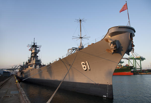 The USS Iowa, berthed at its new permanent home in the Port of Los Angeles in San Pedro, Calif. The decommissioned ship will now be a museum.