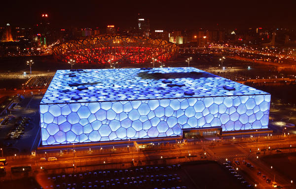 "The National Aquatics Center, also known as the ""Water Cube,"" was the Olympics venue for swimming events."