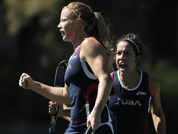The U.S. women's field hockey team hopes to win its first Olympic medal since 1984. Claire Laubach (left) celebrates scoring in a U.S. win over Canada at the 2011 Pan American Games, with teammate Melissa Gonzalez.