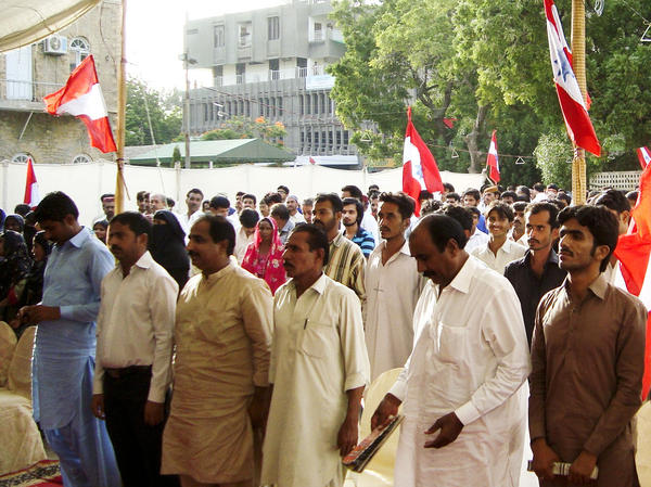 Crowds of Sindhi nationalists hold an anti-China rally in Karachi on Aug. 9. Local activists have called for a boycott of Chinese-made products.