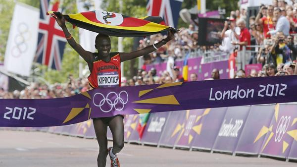 Uganda's Stephen Kiprotich wins the gold medal in the men's marathon at the 2012 London Olympics. As the impoverished country's second gold medalist in 40 years, Kiprotich became an instant national hero.