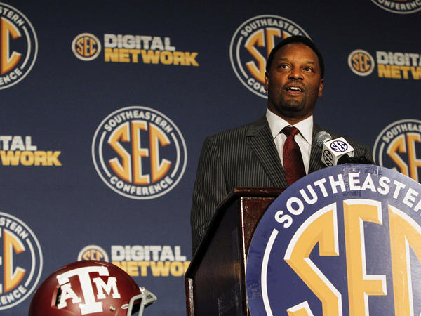 Texas A&M Coach Kevin Sumlin speaks to reporters at the Southeastern Conference NCAA college football media day.
