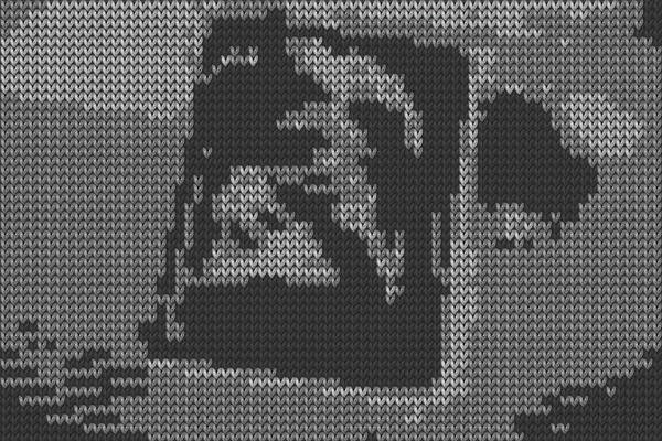 "<a href=""http://40u40.beancreative.com/artist24.html"">Cat Mazza</a>'s <em>Knit for Defense</em> is a nine-minute, black-and-white video made from footage of 20th century conflicts. The war footage is rendered with software that makes each pixel look like a knitted stitch. ""For me, 9/11 made a huge impact and had an impact on this piece as well,"" she says."