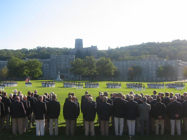 Members of West Point's class of 1965 are honored with a parade by cadets at the class's 40th reunion at the military academy in New York in 2005.