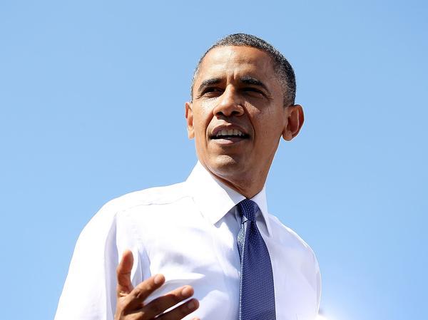Barack Obama speaks during a campaign rally September 21, 2012 in Woodbridge, Virginia.
