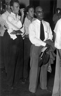 Heman Sweatt in line for registration at the University of Texas in 1950.