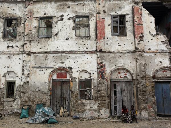 This building, like many others in Mogadishu, has been gutted by years of street fighting. Rebuilding will be a massive undertaking, but construction companies are returning.