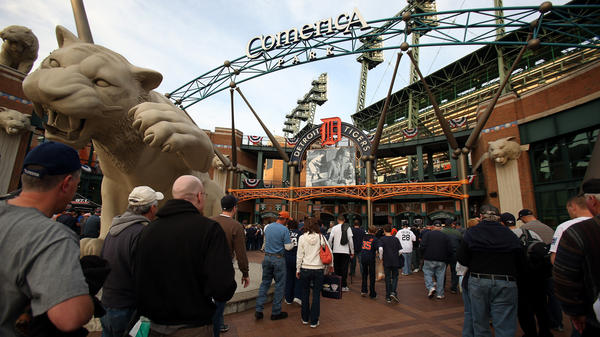 Fans make their way into the ballpark prior to the Detroit Tigers hosting the New York Yankees in Game 4 of the American League Championship Series at Comerica Park in Detroit.