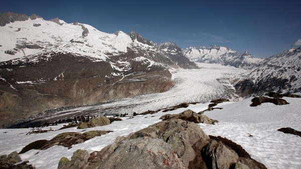 A general view of the Aletsch Glacier on April 21, 2007, near Brig, Switzerland, the largest glacier in the Alps. Unseasonably warm weather with temperatures up to 77 degrees Fahrenheit across Switzerland let snow melt, even at Alpine altitudes.