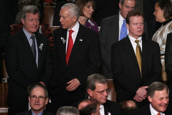 From left, Sens. Max Baucus (D-Mont.), Orrin Hatch (R-Utah) and Sen. Jim Webb (D-Va.) await President Obama's State of the Union address in January 2011, when a bipartisan seating arrangement symbolically suggested a more cooperative spirit among lawmakers.
