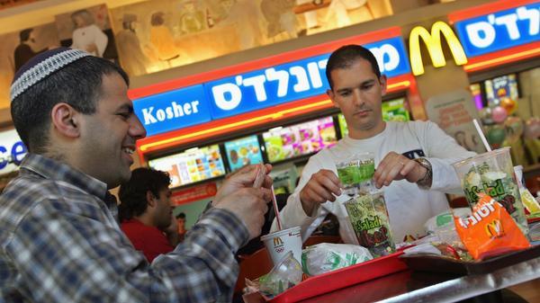 Israelis eat at a kosher McDonald's restaurant in Tel Aviv.