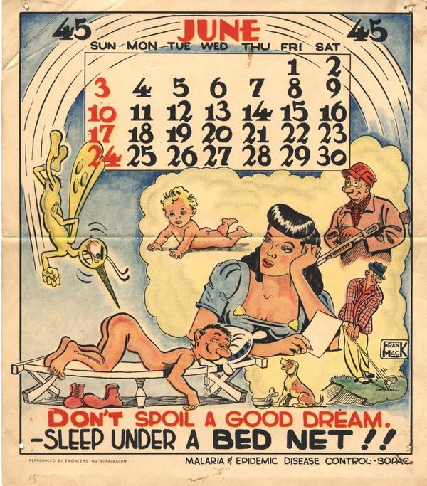 While the Office of Malaria Control in War Areas focused on stopping malaria in the U.S. during War World II, the U.S. Army launched an aggressive campaign to combat the parasite among troops. In 1945, it distributed a monthly pinup calendar to soldiers in the Pacific, encouraging them to use bug repellent, sleep under bed nets and cover up.
