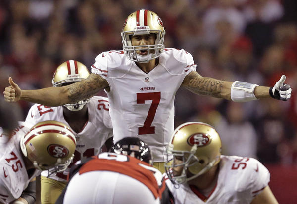 San Francisco 49ers quarterback Colin Kaepernick signals to the line during the second half of the NFL football NFC Championship game Jan. 20.
