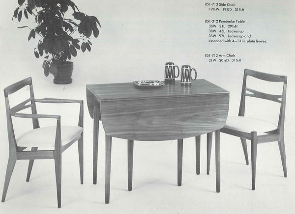 NPR's Andrea Hsu paid $75 for her midcentury modern dining set, shown here in a 1963 Drexel Declaration catalog.