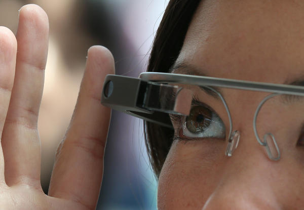A conference attendee tries Google Glass during the Google I/O developer conference in San Francisco in May.