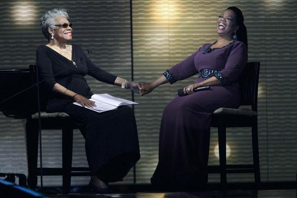 "Angelou (left) and Oprah Winfrey laugh during a star-studded taping of ""Surprise Oprah! A Farewell Spectacular"" on May 17, 2011, in Chicago."