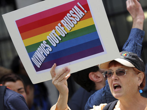 A gay-rights activist chants slogans during a demonstration in front of the Russian Consulate in New York on July 31. Gays in the United States and elsewhere are outraged by Russia's intensifying campaign against gay-rights activism.