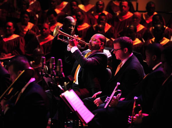 Trumpeter Wynton Marsalis performs his <em>Abyssinian Mass </em>in 2008.