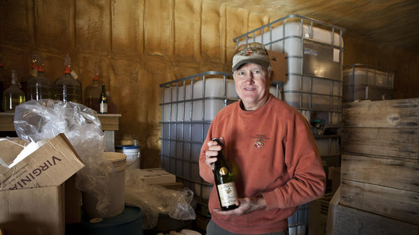 Chuck Shelton in the cold room at Albemarle CiderWorks in Virginia, which makes sparkling alcoholic cider with some of the same apple varieties used by Thomas Jefferson.