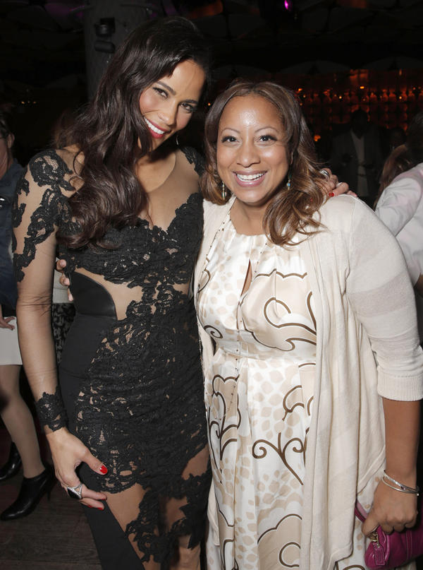<em>Baggage Claim</em>'s Paula Patton (left) and Fox Searchlight's senior vice president of production, Zola Mashariki, attend the after party for the Los Angeles premiere of <em>Baggage Claim</em> in September.