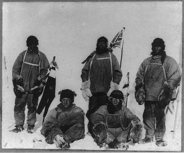 Members of Robert Falcon Scott expedition's at the South Pole pose for the camera: Robert F. Scott, Lawrence Oates, Henry R. Bowers, Edward A. Wilson, and Edgar Evans.