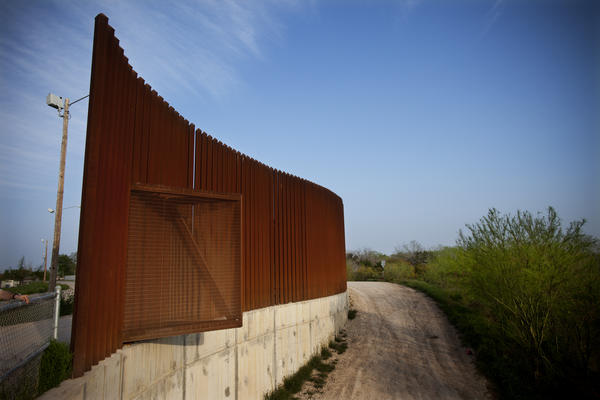 The edge of a fence near the U.S.-Mexico border in Hidalgo, Texas.