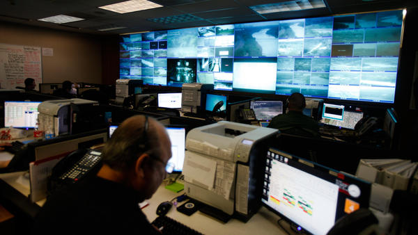 The Border Patrol communications center in Laredo, Texas, has no windows but plenty of monitors.