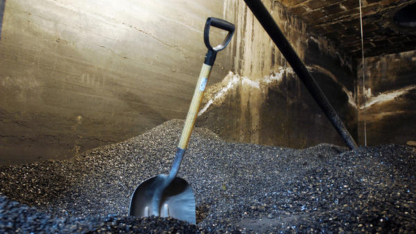 Several tons of anthracite coal fill a basement space in Pottsville, Pa.