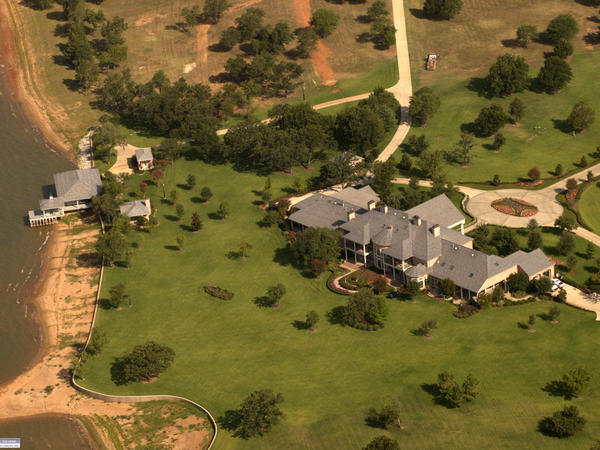 This aerial photograph shows Kenneth and Gloria Copeland's lakeside villa, valued at $6.3 million, which is not taxed because it is listed as a parsonage.