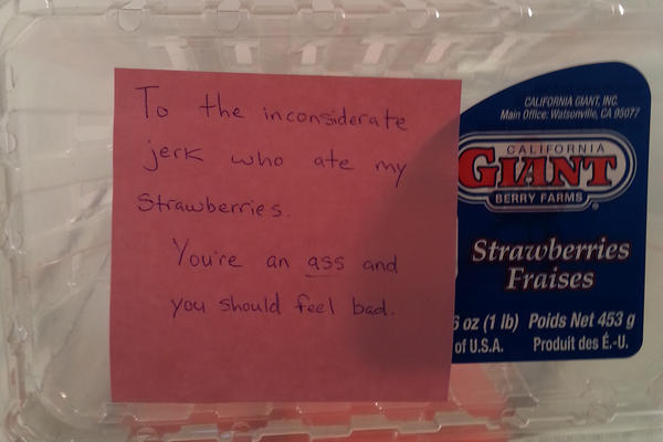 """To the inconsiderate jerk who ate my strawberries."""