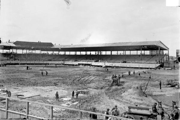 Construction takes place at Weeghman Park in 1914. The Federal League's Chicago Whales was the first team to play at the now iconic field.