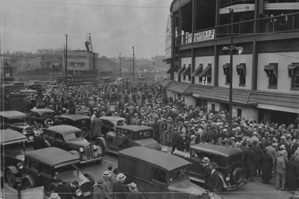 The crowd at Wrigley Field lines up for tickets for the World Series game between the Chicago Cubs and the Detroit Tigers in October 1935.