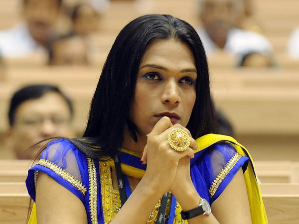 Aher attends a national conference on HIV-AIDS in New Delhi on July 4, 2011. Unlike many other <em>hijras,</em> she holds a conventional job as a project manager with an HIV-AIDS group.