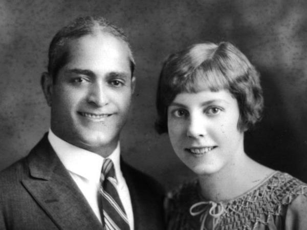 Helen and Abol Ghassem's marriage photo, New York City, 1927.