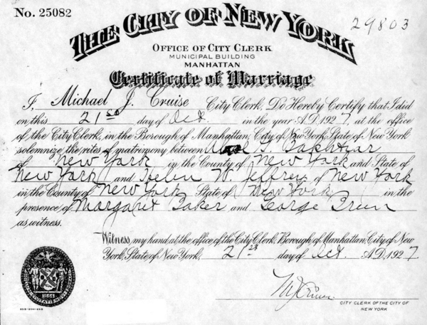 "Helen and Abol marriage certificate. New York City, 1927. Though the couple had agreed not to tell anyone about the marriage, Abol couldn't help but phone a friend. He ""started to cry on the phone,"" Helen later remembered. ""Why are you crying?"" Abol's friend asked. ""Because I am so happy,"" Abol replied."