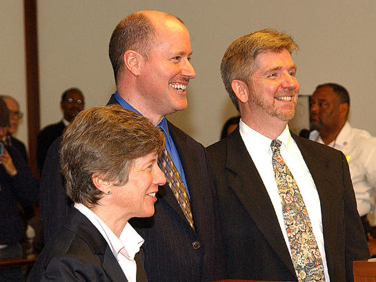 Bonauto with Edward Balmelli and Michael Horgan, plaintiffs in the landmark case that legalized gay marriage in Massachusetts.