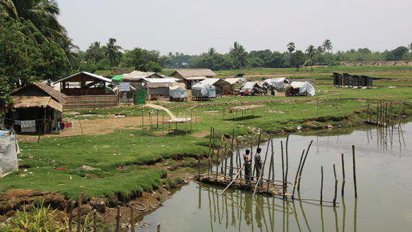 A camp for displaced Rohingya people sits by a river outside Sittwe, the capital of western Myanmar's Rakhine state. Rohingya are not able to travel freely outside the camps.