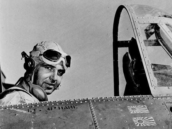 Navy Lt. Edward O'Hare, for whom Chicago's O'Hare Airport is named, sits in the cockpit of the plane in which he shot down six Japanese heavy bombers in WWII.