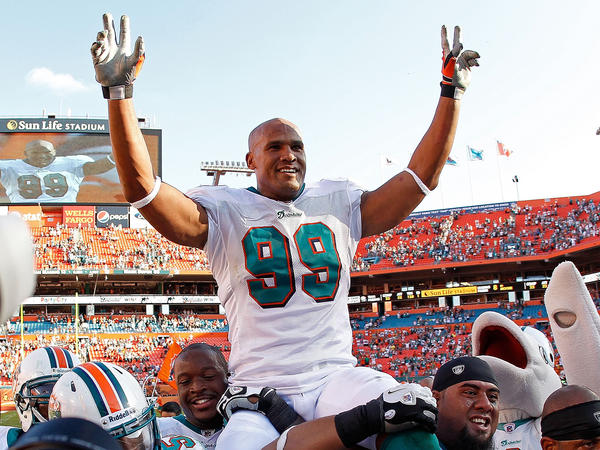 Taylor spent the bulk of his career as a Miami Dolphin. After his final game in the NFL, he was carried off the field by teammates.